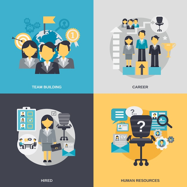 Human resources flat Free Vector
