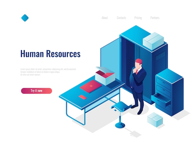 Human resources hr isometric icon concept, employment, office inside interior, table with chair Free Vector