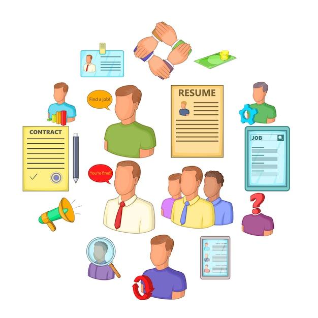 Human resources icons set, flat style Premium Vector