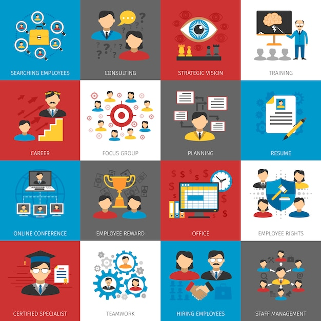 Human resources management flat icons collection Vector | Free Download