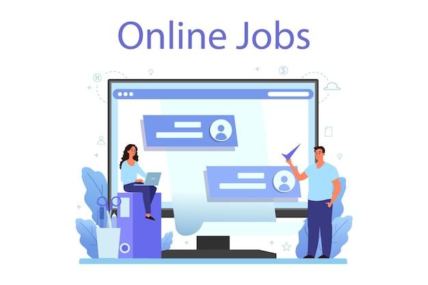Онлайн-сервис или платформа отдела кадров. идея найма и управления вакансиями. Premium векторы
