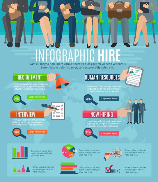 Human resources personnel recruitment and hiring strategy infographics report with charts Free Vector