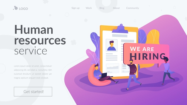 Human resources service landing page Free Vector