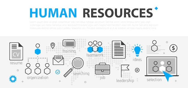 Human resources web banner concept. outline line business icon set. hr strategy team, teamwork and corporate organization.  illustration template for sites, presentation Premium Vector