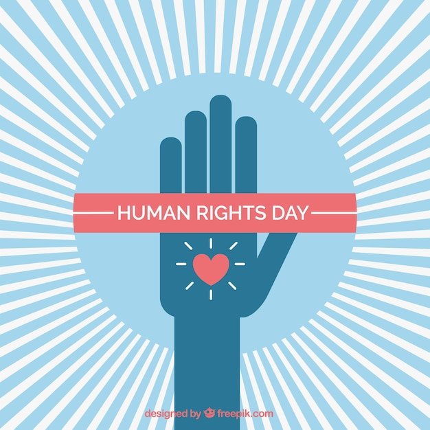 Human rights day, a hand with a heart