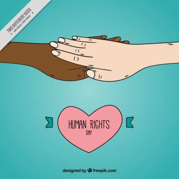 Human rights day background with hands together and heart