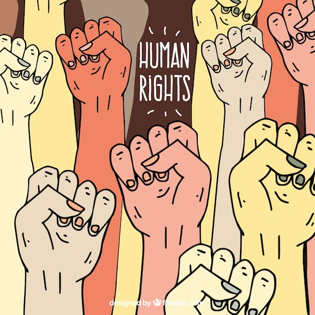 Human rights day, hands raised