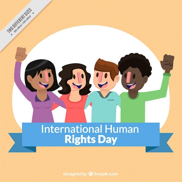 Human rights day, happy people