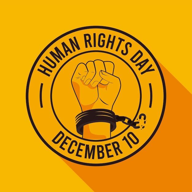手錠シールイラストデザインの手で人権デーのポスター Premiumベクター