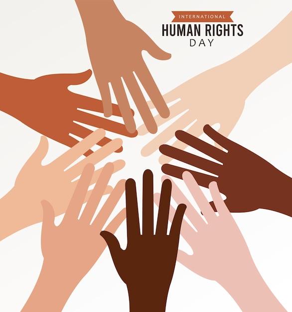 イラストデザインの周りの異人種間の手で人権デーのポスター Premiumベクター