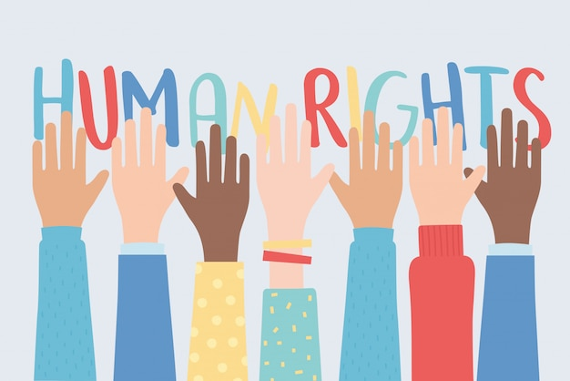 Human rights, raised hands together community vector illustration Premium Vector