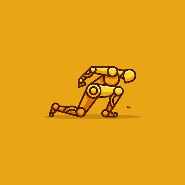 Человек робот бегун характер вектор шаблон Premium векторы