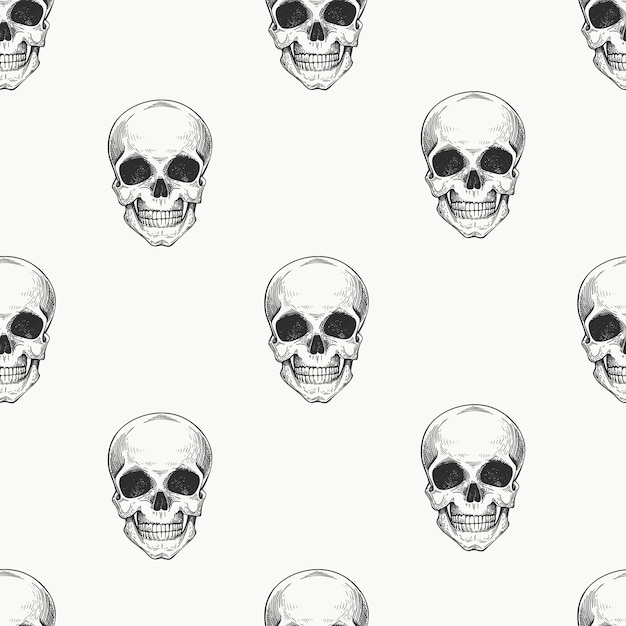 Human scull seamless pattern. hand drawn skeleton illustration. Premium Vector