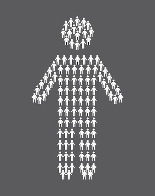 Human silhouette over gray background vector illustration Premium Vector
