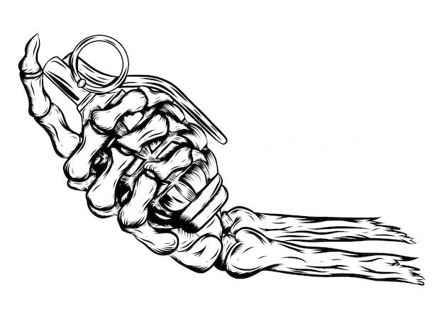 イラストの手榴弾を持っている人間の骨格手 Premiumベクター