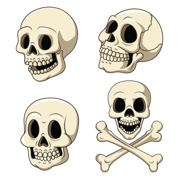 Human skull collection set isolated on white background Premium Vector