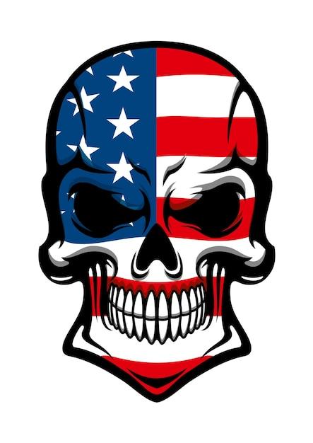 흰색에 고립 된 미국 국기와 인간의 두개골 문신, 티셔츠 또는 마스코트 디자인 프리미엄 벡터