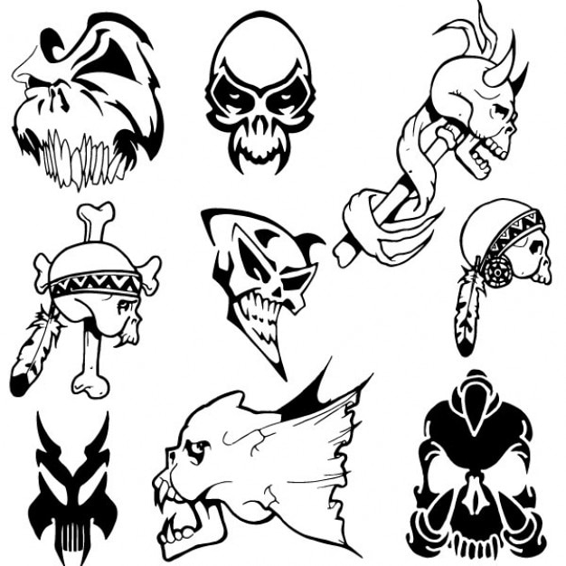 Human skulls and animals vector pack