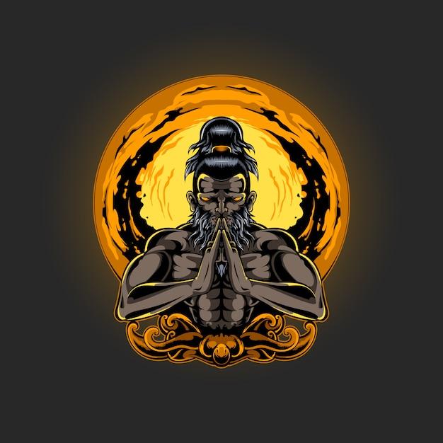 Иллюстрация медитации духовности человека Premium векторы