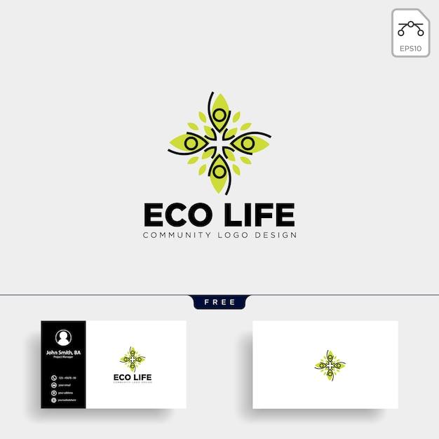 Human tree leaf community logo template Premium Vector