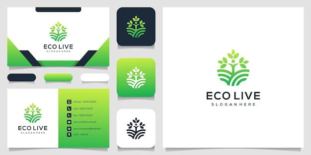 人間の木の線画スタイルのロゴアイコンイラストと名刺 Premiumベクター