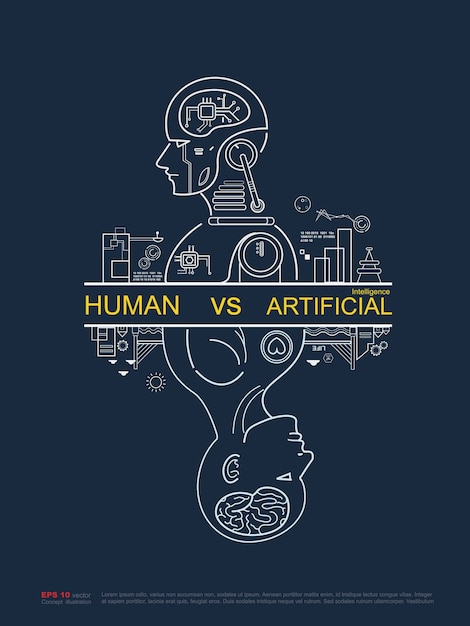 human vs artificial intelligence outline poster vector