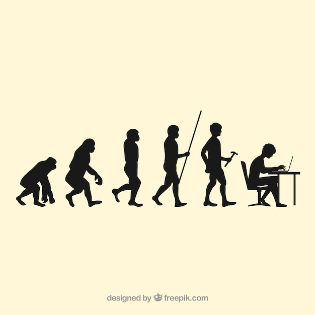 Human workers evolution silhouettes Free Vector