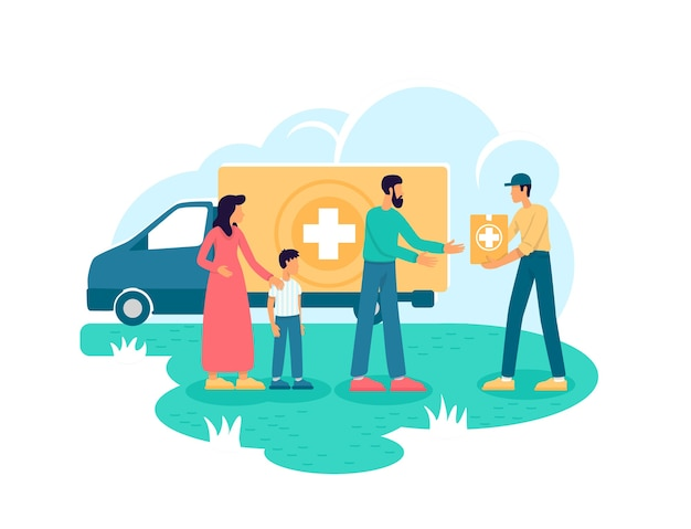 Humanitarian aid 2d web banner, poster. voluntary organization flat characters on cartoon background. medical help. donation for people in need printable patch, colorful web element Premium Vector