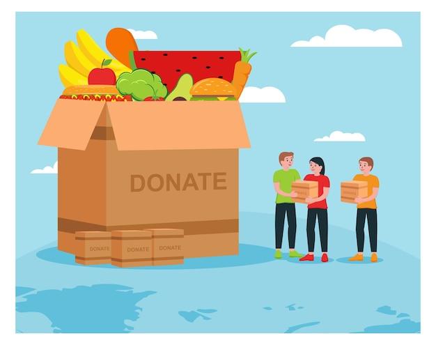 Гуманитарная помощь пожертвовать еду Premium векторы
