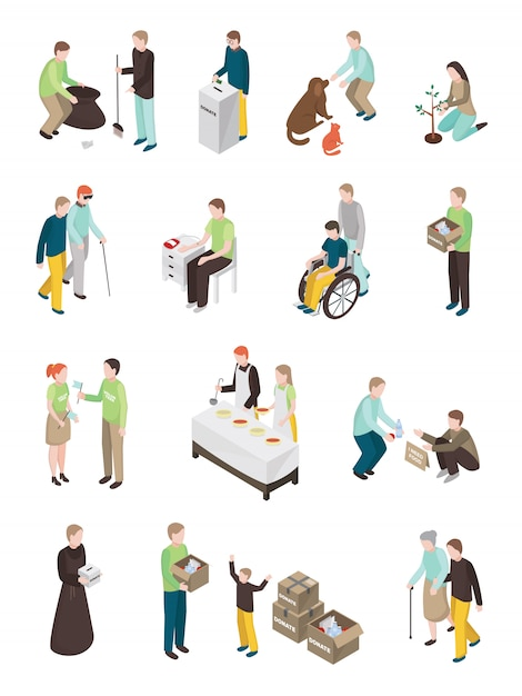 Humanitarian charity characters collection Free Vector