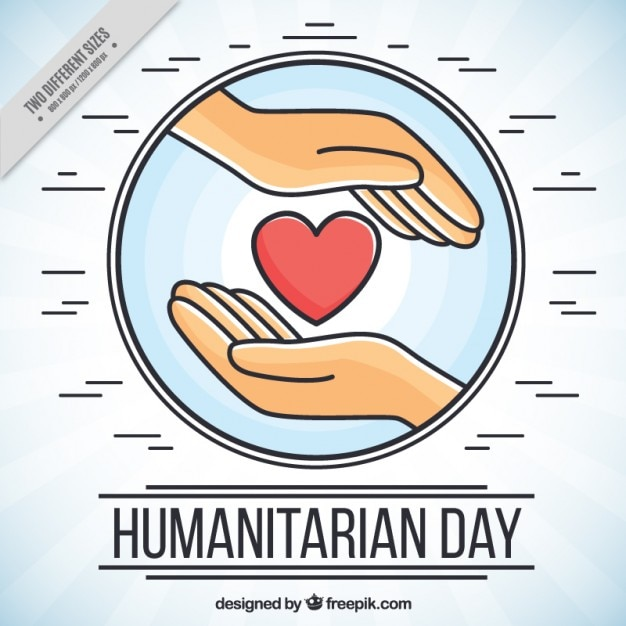 humanitarian day background with hands vector free download