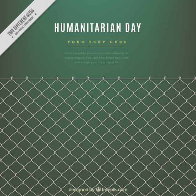 Humanitarian day green background with a grille Free Vector