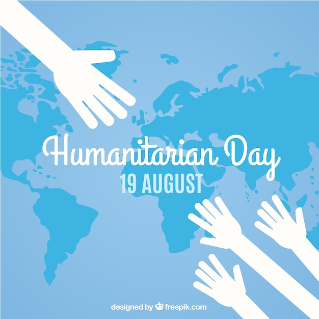 Humanitarian day map background with hands Free Vector