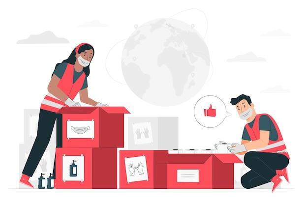 인도 주의적 도움 (위생 보호 장비를 기부하는 사람들) 컨셉 일러스트 무료 벡터