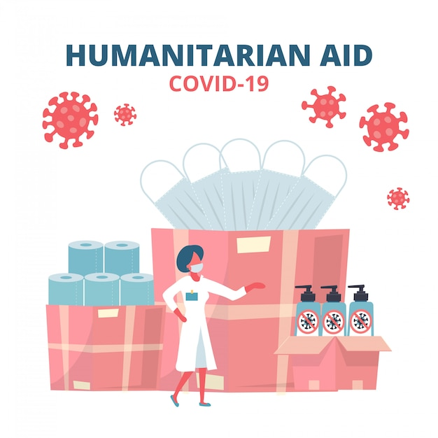 Humanitarian support, goodwill mission in suffering from coronavirus epidemic, intentional help, supplying masks, sanitizer gel and toilet paper concept. doctor unloading, carrying boxes flat Premium Vector