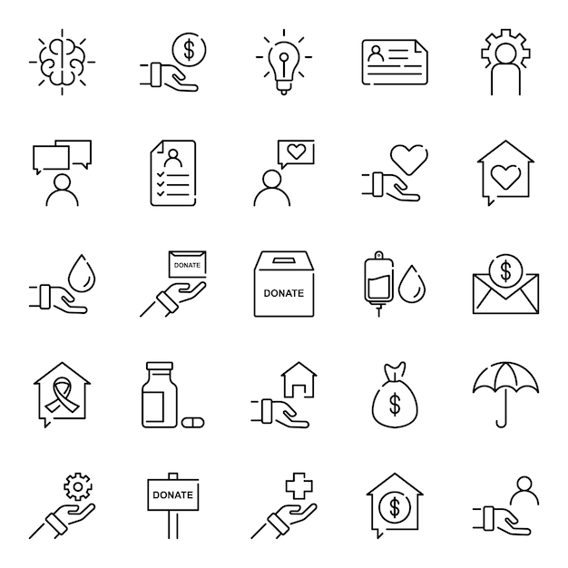 Humanity icon pack, with outline icon style Premium Vector