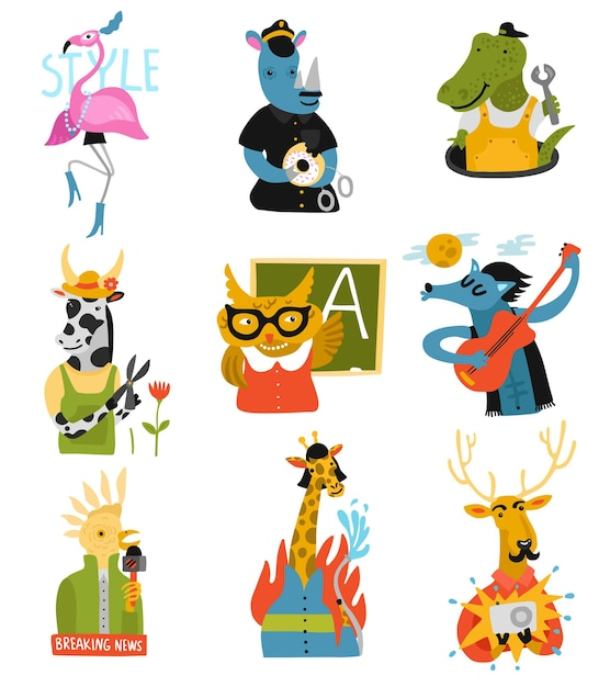 Humanized animals of different professions set with owl teacher, rhino policeman, giraffe fire fighter isolated Free Vector