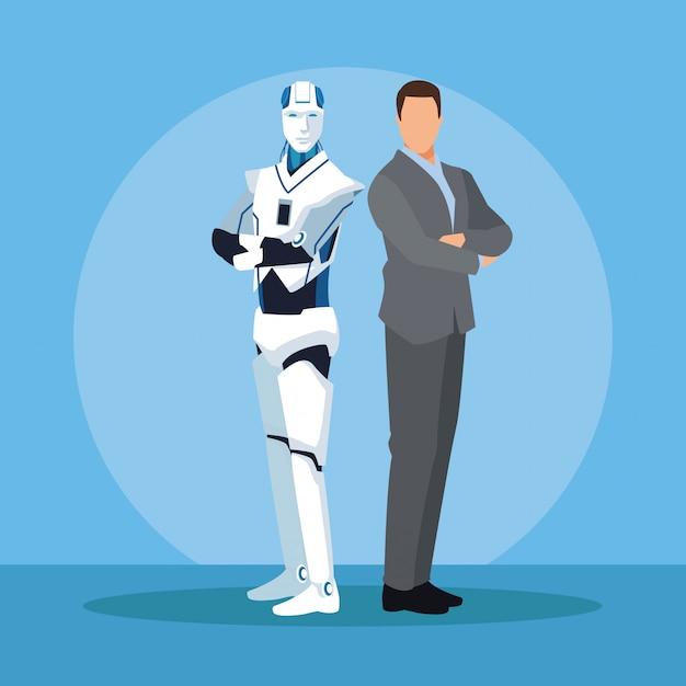 Humanoid robot and businessman Premium Vector