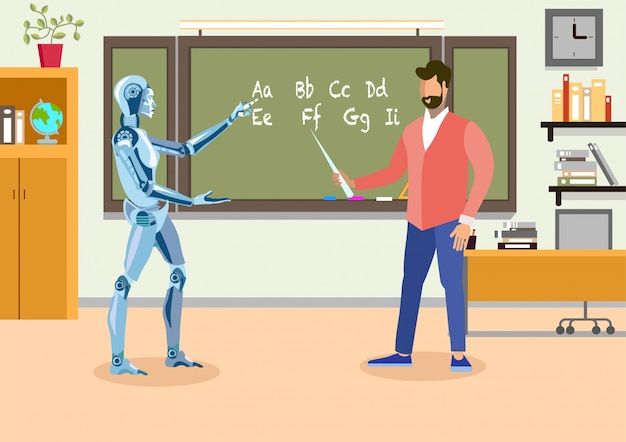 Humanoid teacher in classroom flat illustration Premium Vector