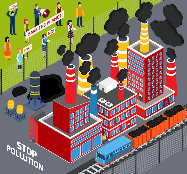 Humans against industrial pollution Free Vector