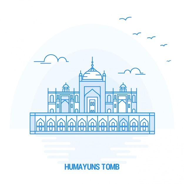 Humayuns tomb blue landmark Premium Vector