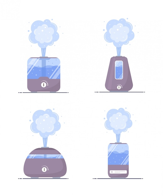 Humidifier air icon. set of ultrasonic purifiers microclimate for home. healthy humidity. modern illustration in flat cartoon style. Premium Vector