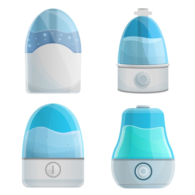 Humidifier icons set, cartoon style Premium Vector