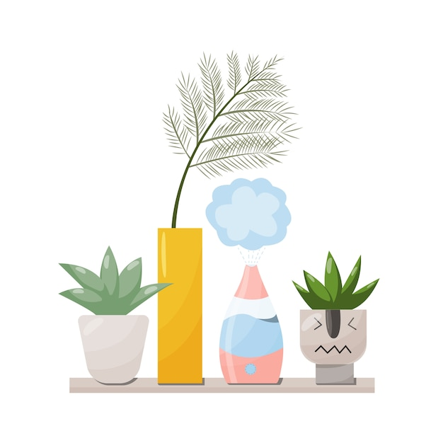 Humidifier and plants equipment for home or office. air purifier in the interior illustration with house plant . air cleaning and humidifying devise for the house. Premium Vector