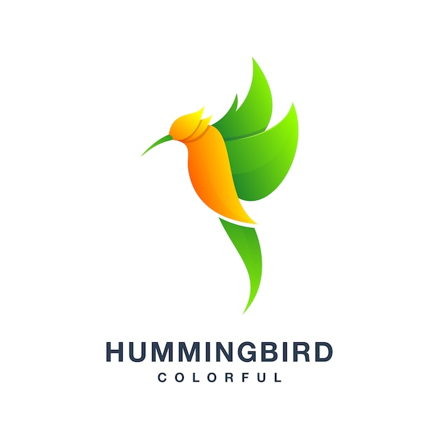 Humming bird colorful logo Premium Vector