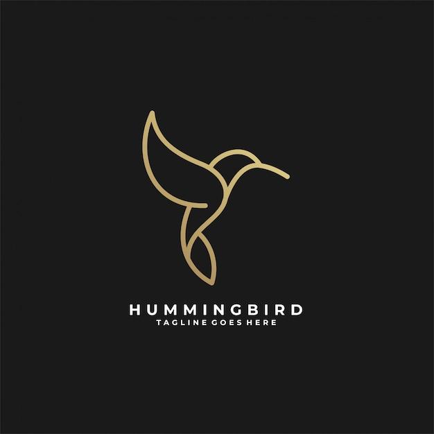 Humming bird line art luxury   logo. Premium Vector