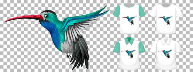 Колибри мультипликационный персонаж со многими типами рубашек на прозрачном фоне Бесплатные векторы