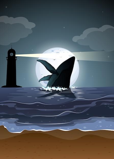 自然のシーンのシルエットのザトウクジラ 無料ベクター