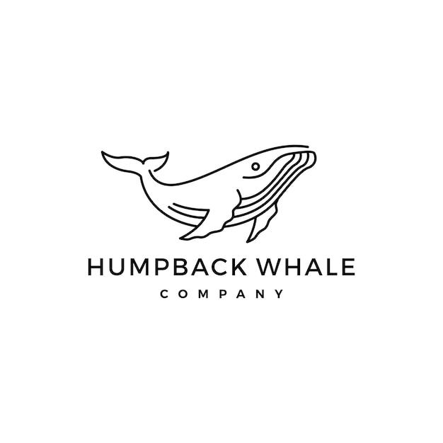 Humpback whale logo icon vector illustration Premium Vector