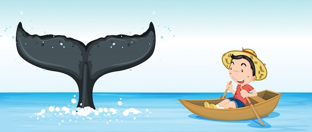 Humpback whale tail in ocean Free Vector